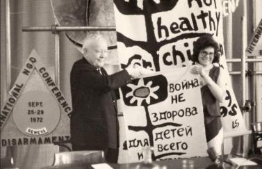 Lorraine Art Schneider at The International Disarmament Conference, Geneva, Sept. 1972.